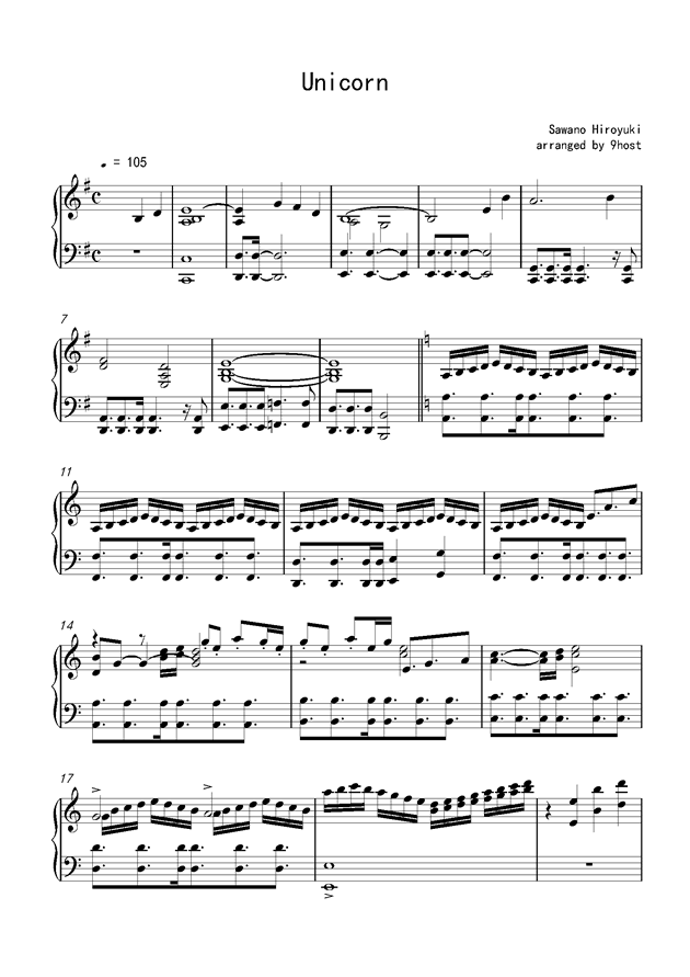 Unicorn钢琴谱 第1页