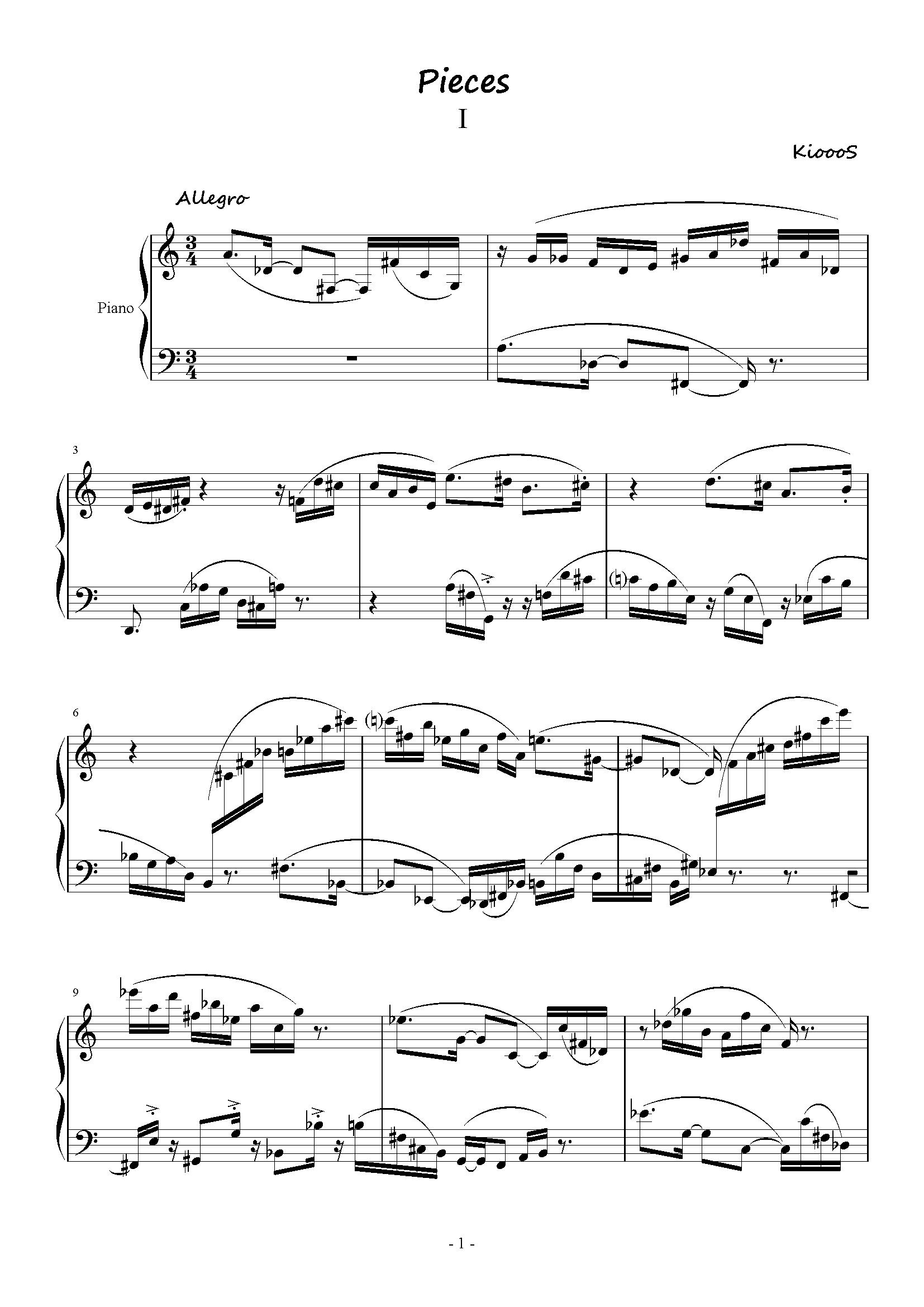 Pieces_01钢琴谱 第1页