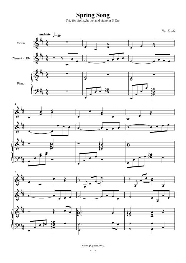春之歌钢琴谱 第1页