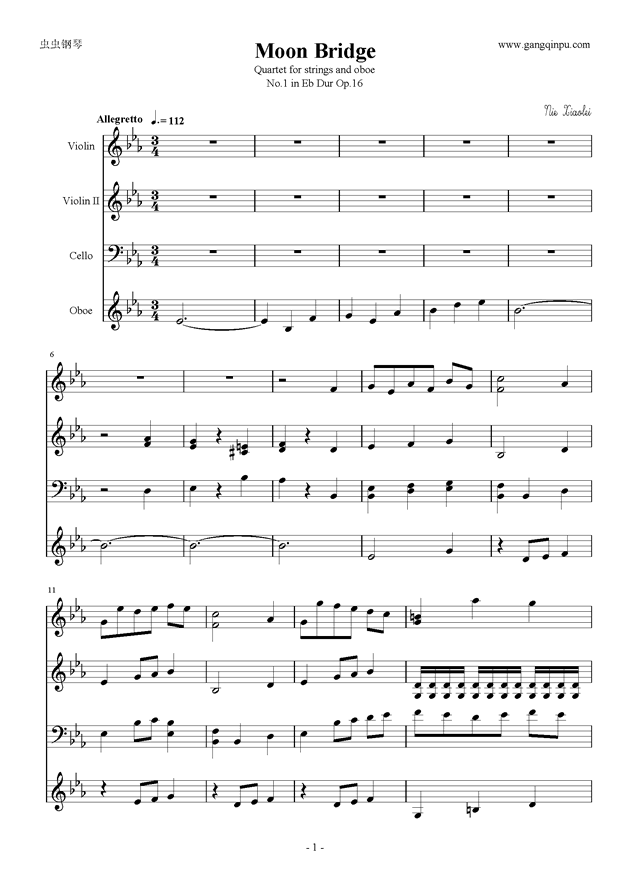 Moon Bridge钢琴谱 第1页