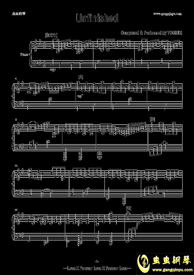 Unfinished钢琴谱 第1页