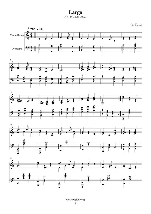 庄严的行板钢琴谱 第1页