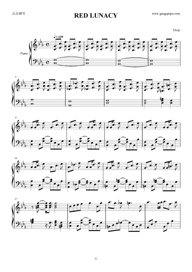 RED LUNACY short.钢琴谱 第1页