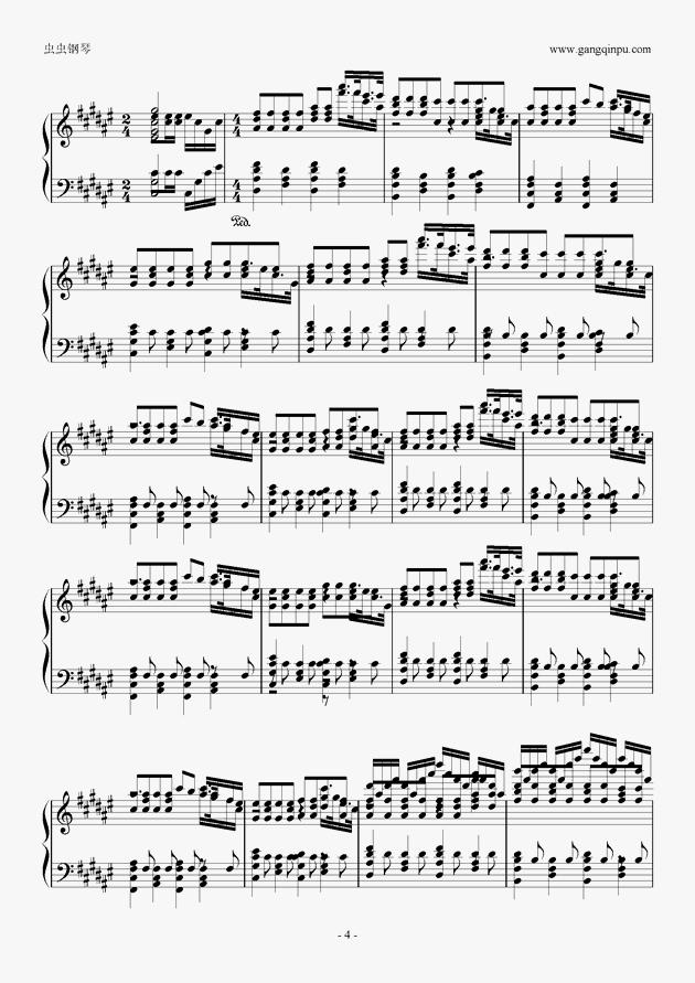 fade曲谱数字