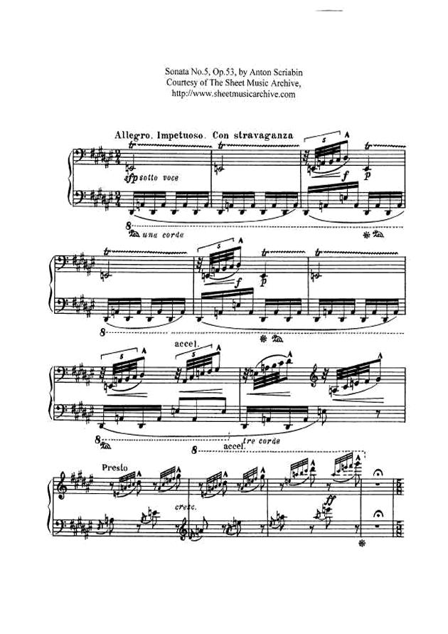 斯克里亚宾第5奏鸣曲钢琴谱 第1页