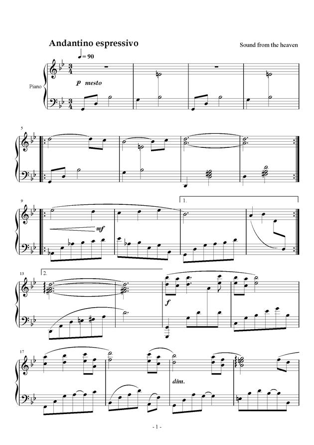 大自然的声音钢琴谱 第1页