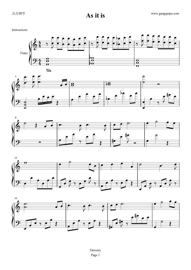 看淡钢琴谱 第1页