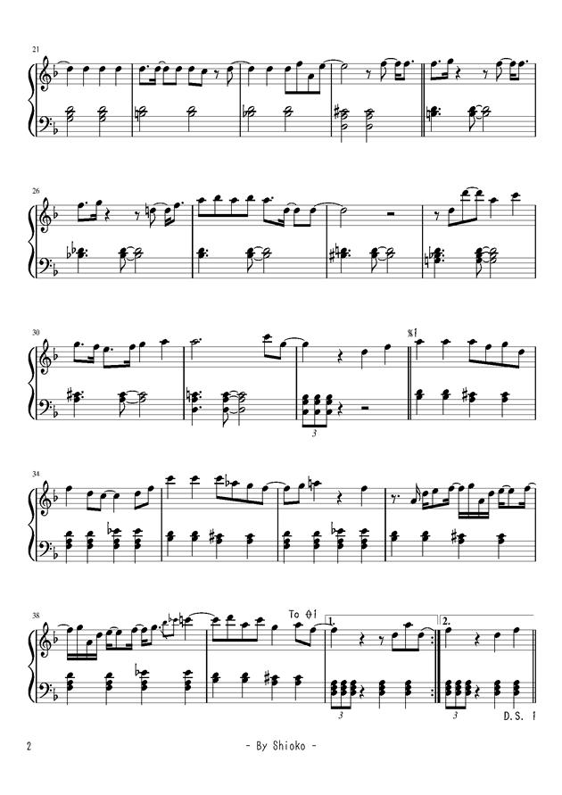 �Lい短く祭钢琴谱 第2页