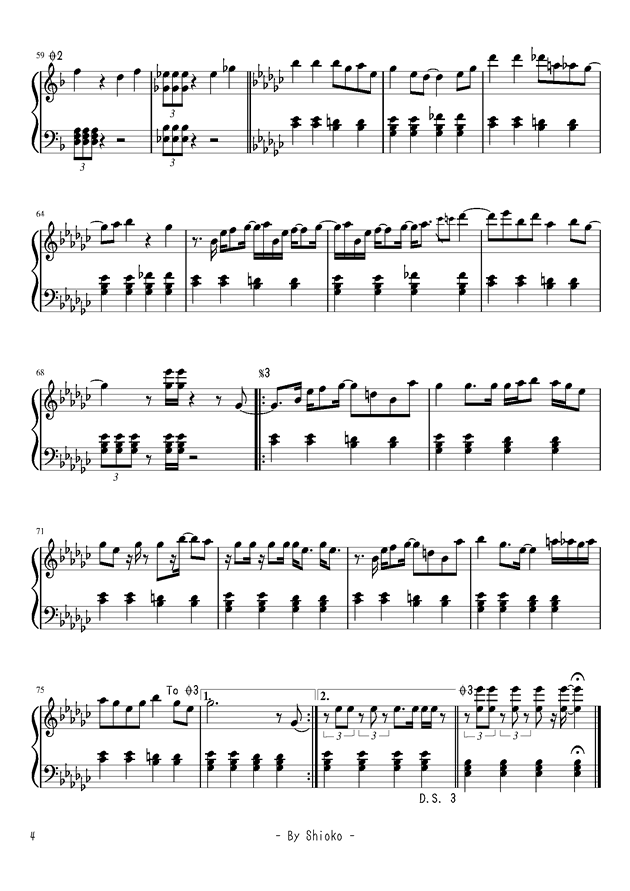 �Lい短く祭钢琴谱 第4页