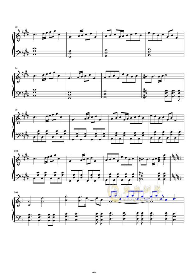 故�l之星倒映之海钢琴谱 第6页