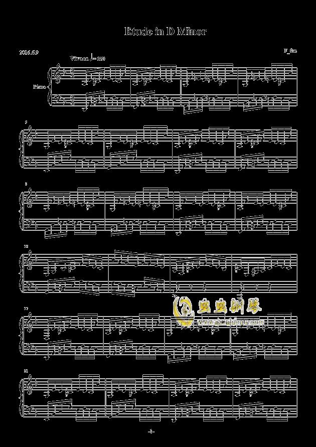 Etude in D Minor钢琴谱 第1页