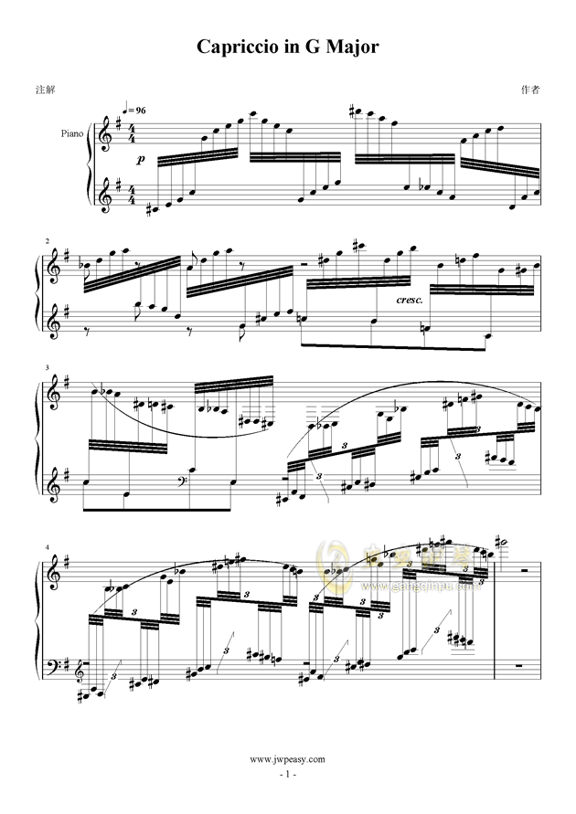 Capriccio in G Major钢琴谱 第1页