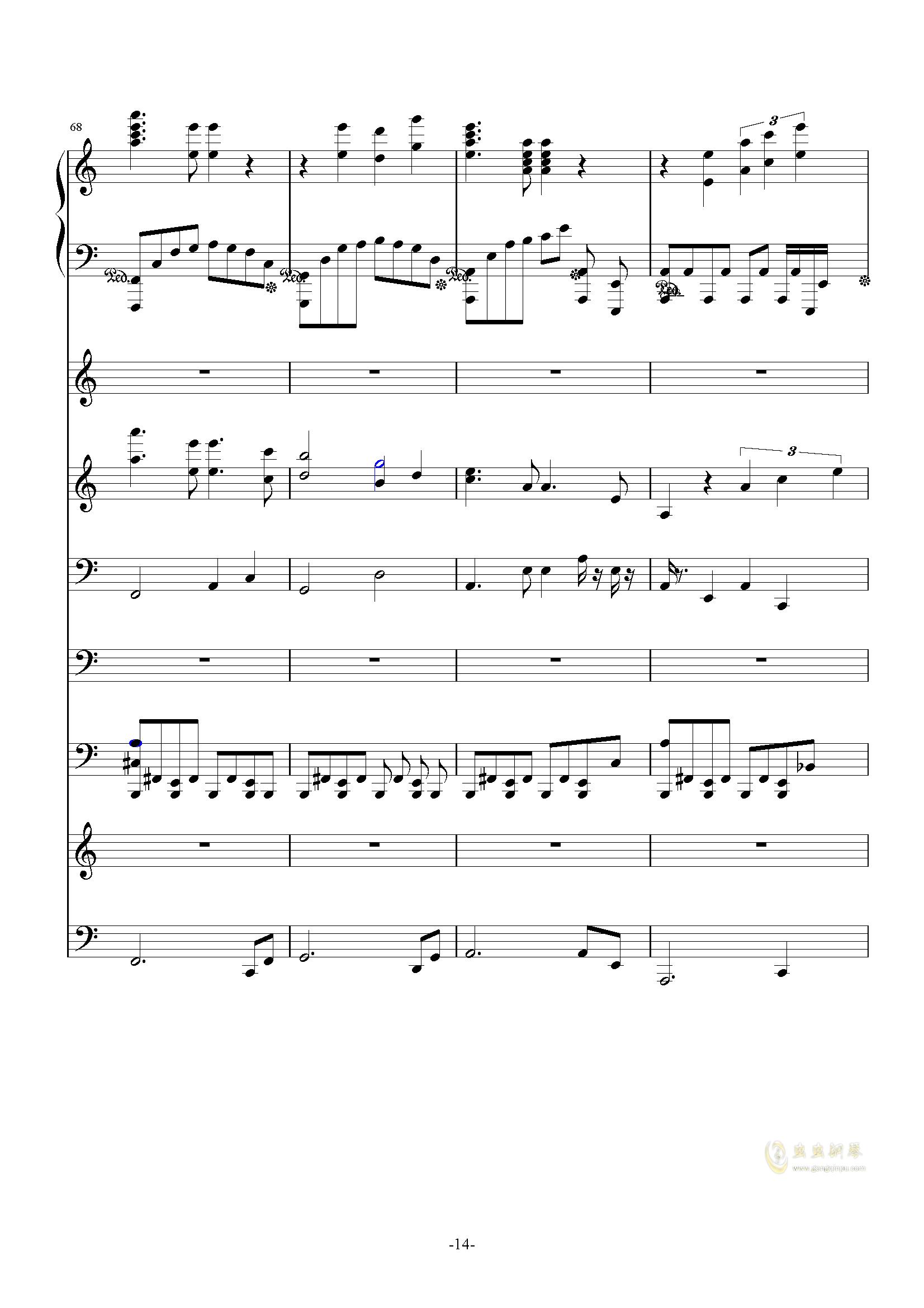 大夜洛第一号狂想曲钢琴谱 第14页