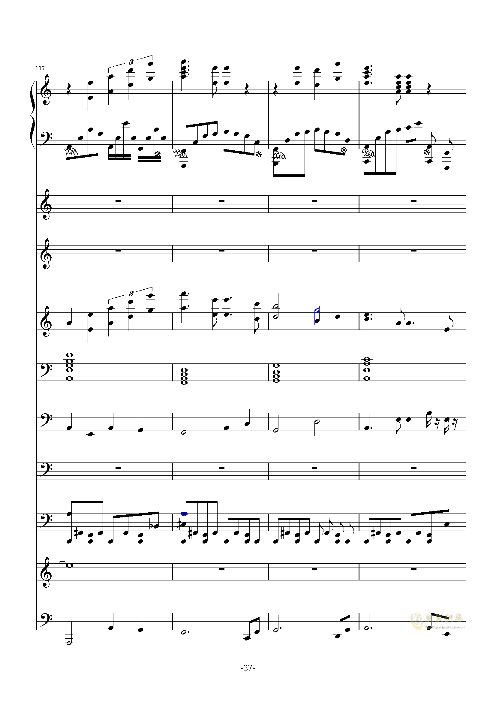 大夜洛第一号狂想曲钢琴谱 第27页