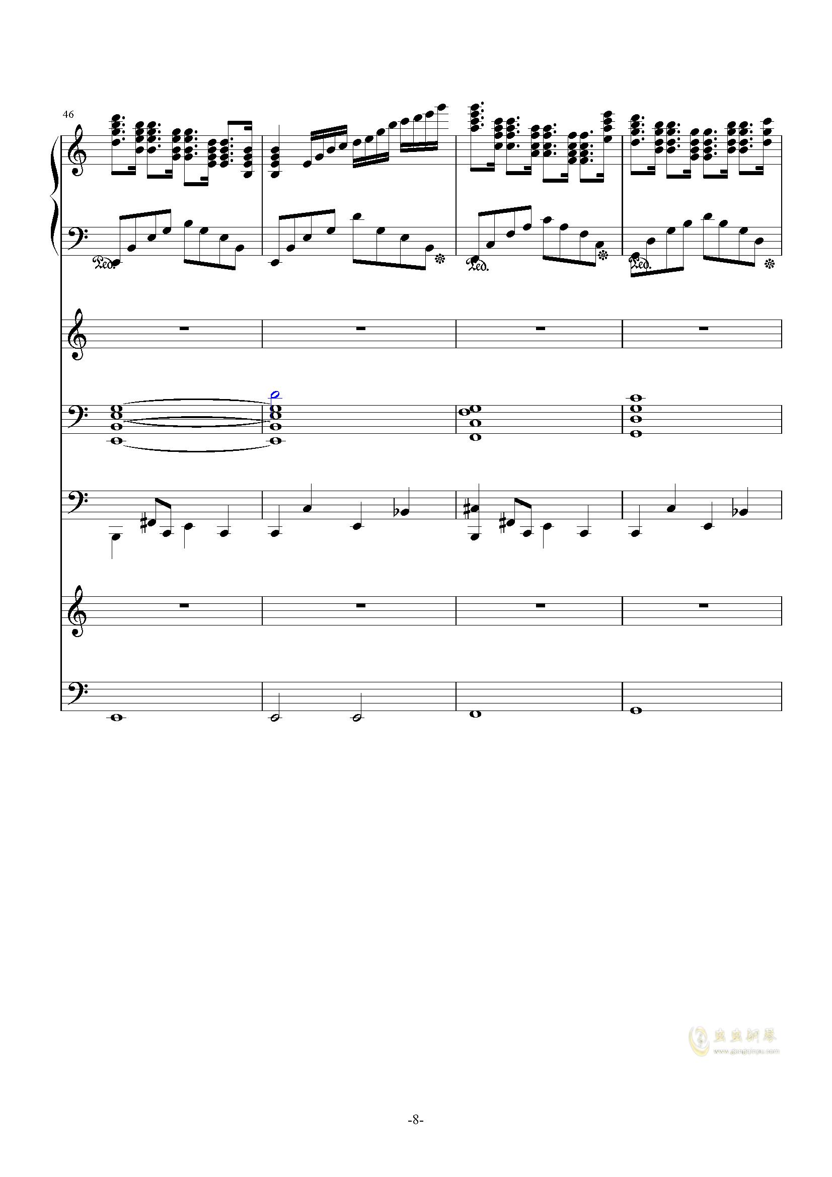 大夜洛第一号狂想曲钢琴谱 第8页