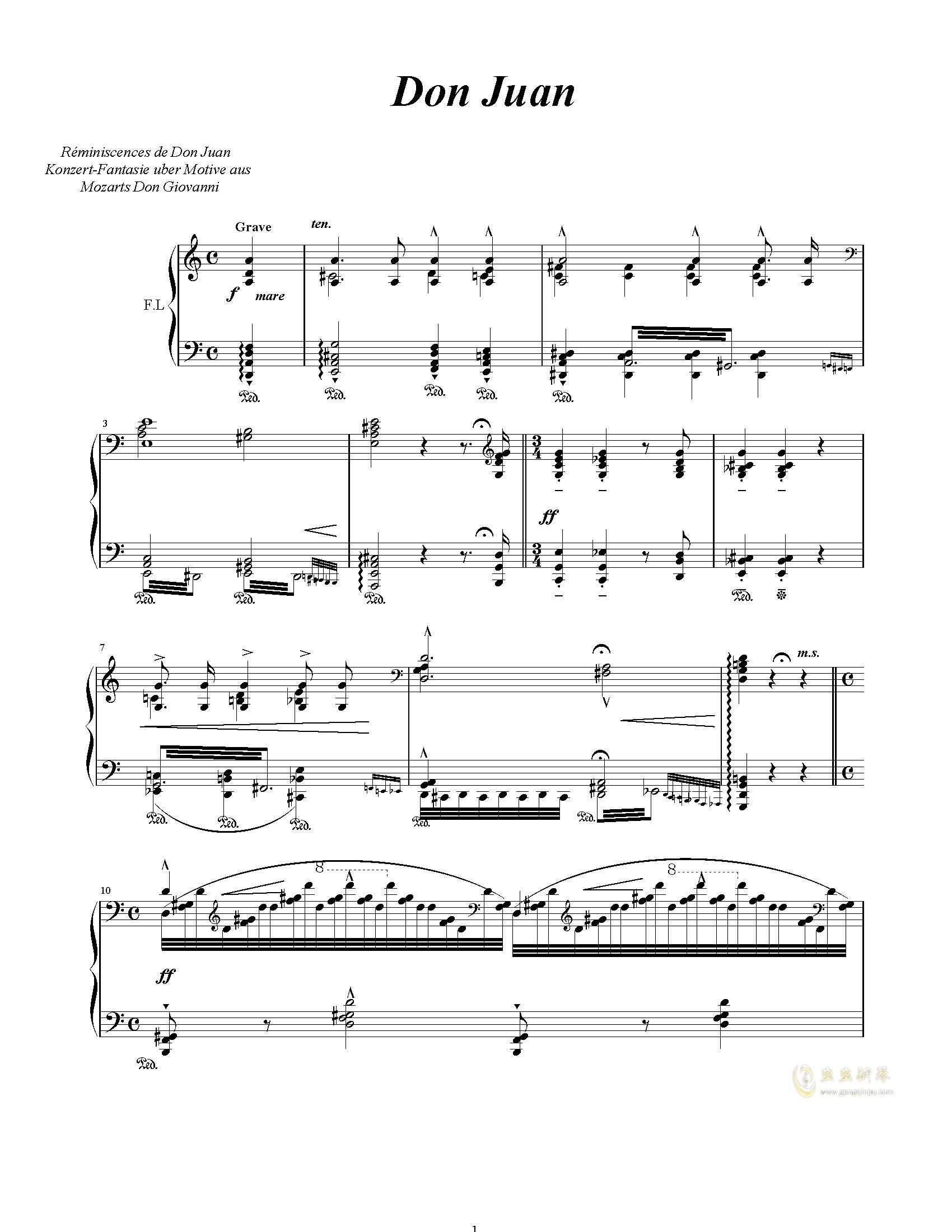 唐璜的回忆钢琴谱 第1页