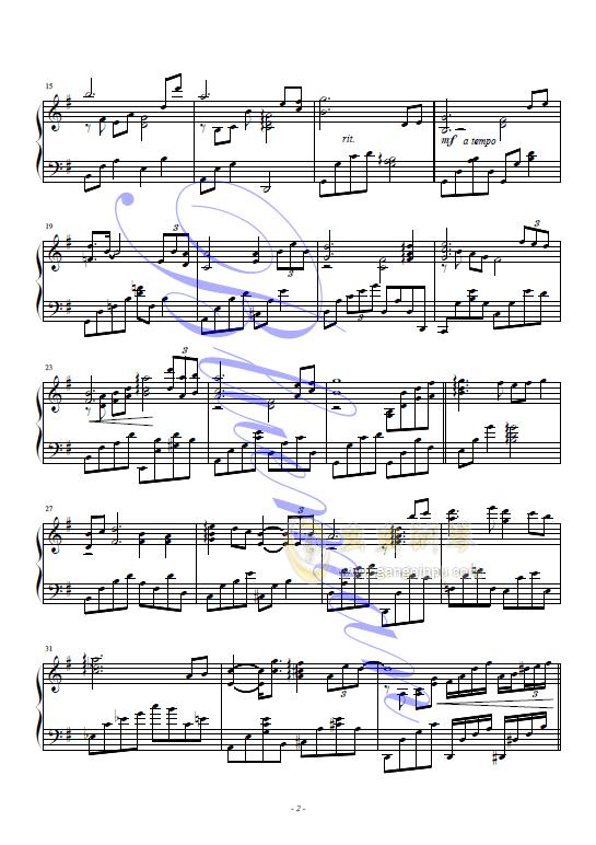 在水一方钢琴谱 第2页