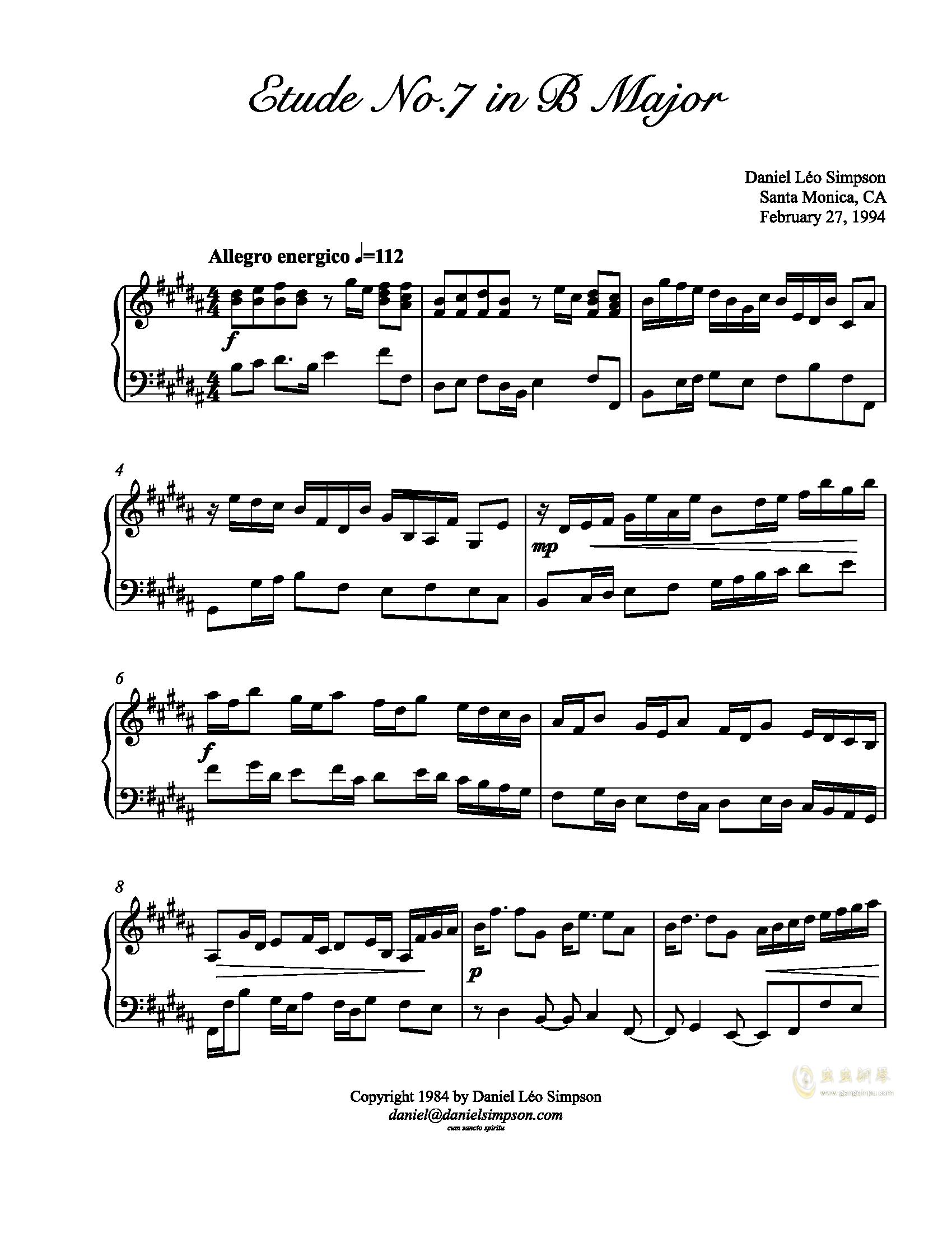辛普森B大调练习曲钢琴谱 第1页