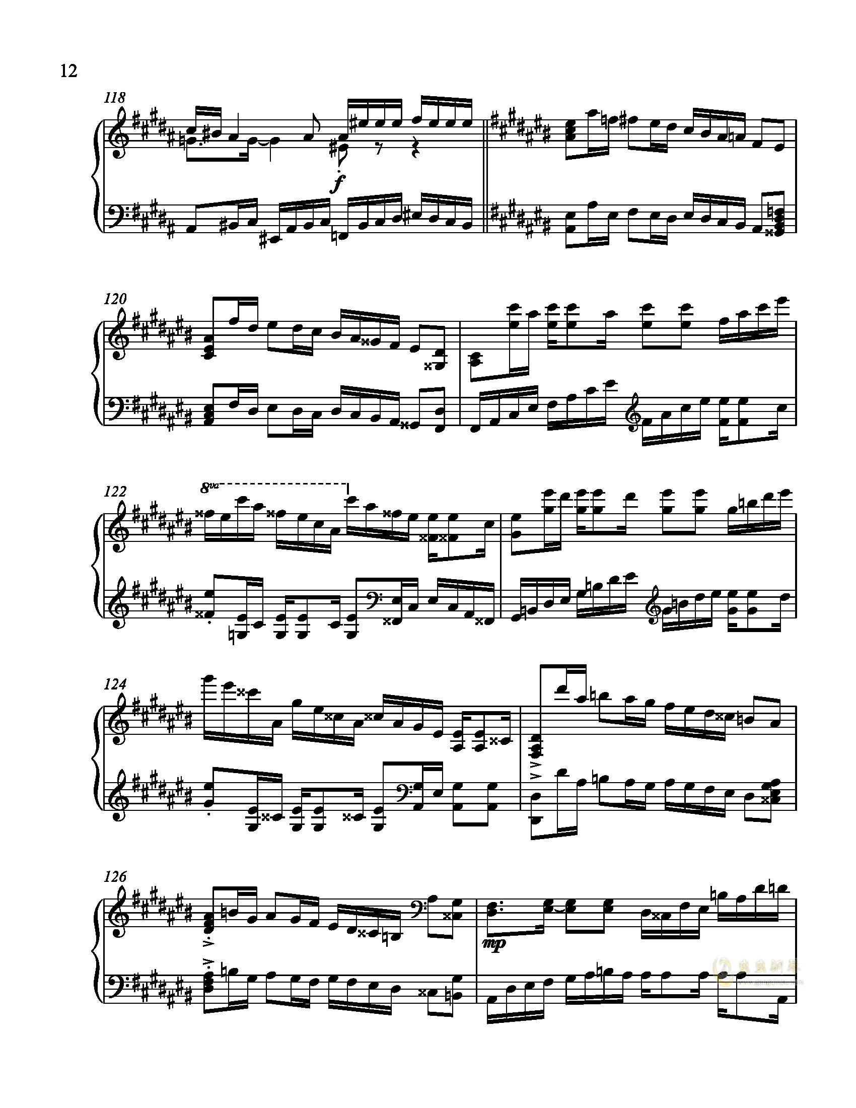 辛普森B大调练习曲钢琴谱 第12页
