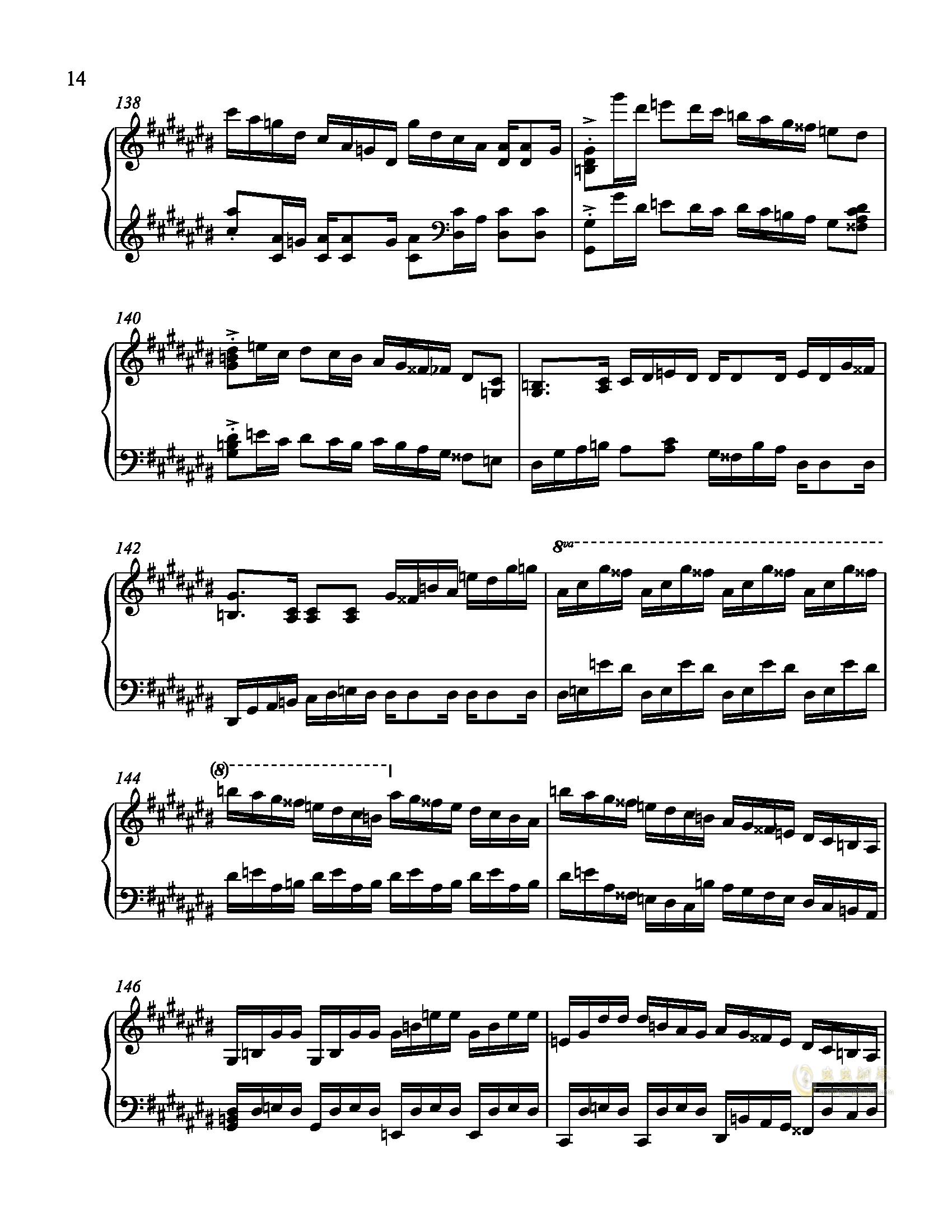 辛普森B大调练习曲钢琴谱 第14页