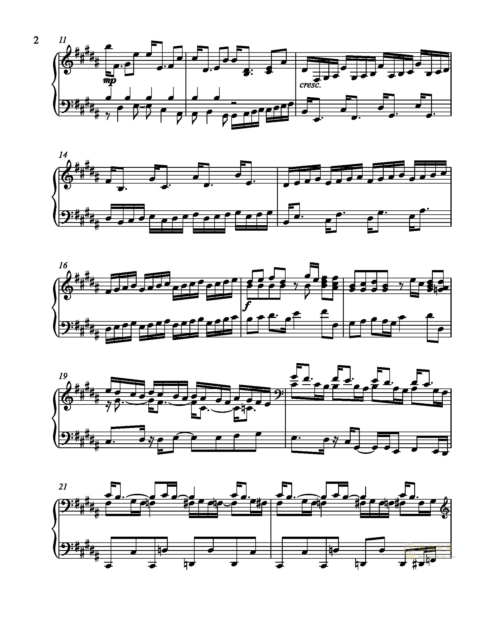辛普森B大调练习曲钢琴谱 第2页
