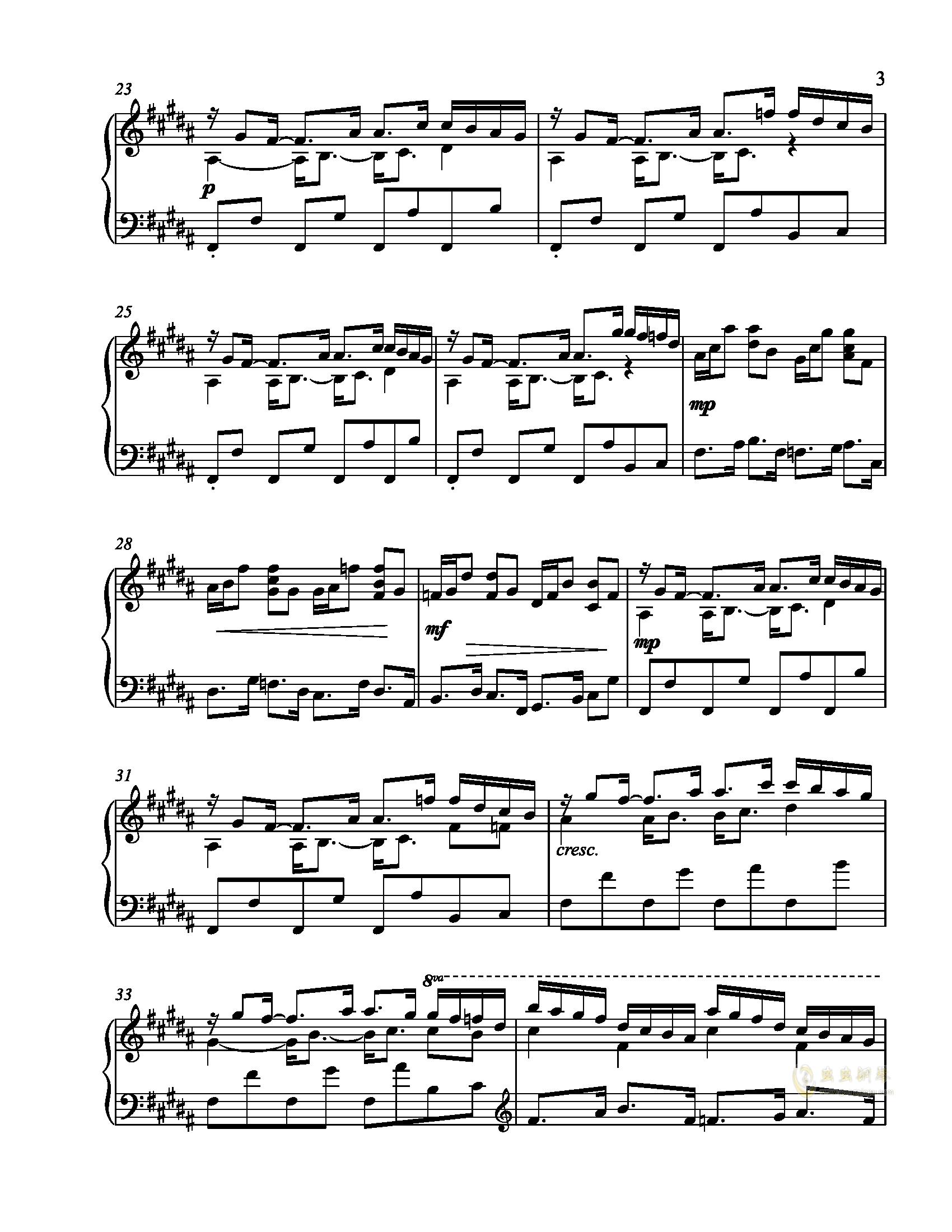 辛普森B大调练习曲钢琴谱 第3页