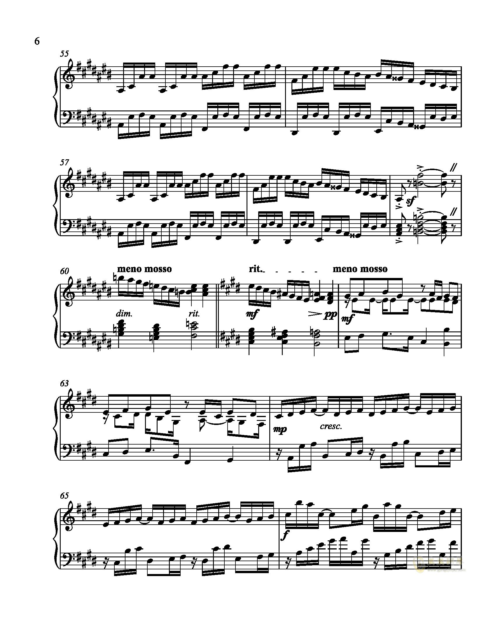 辛普森B大调练习曲钢琴谱 第6页