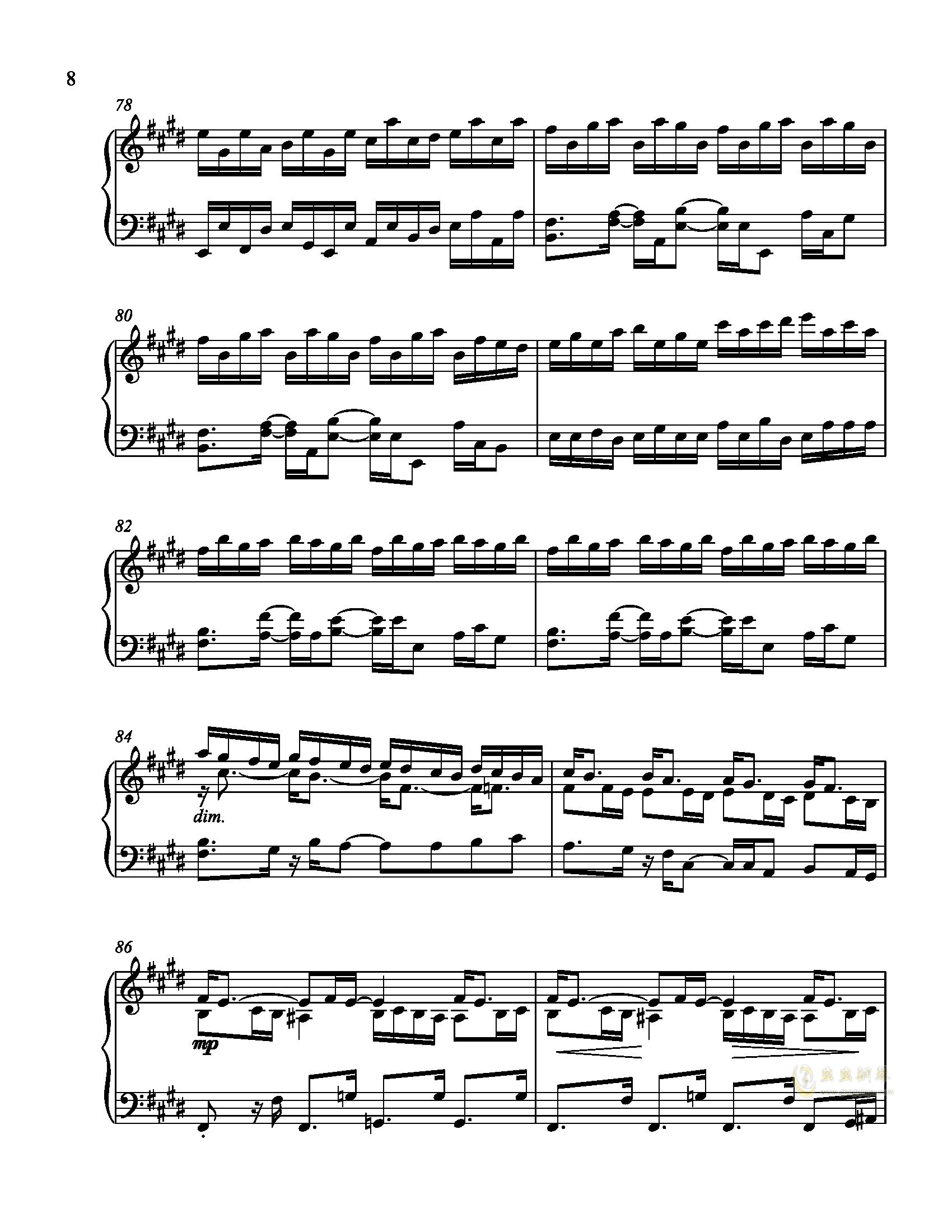 辛普森B大调练习曲钢琴谱 第8页