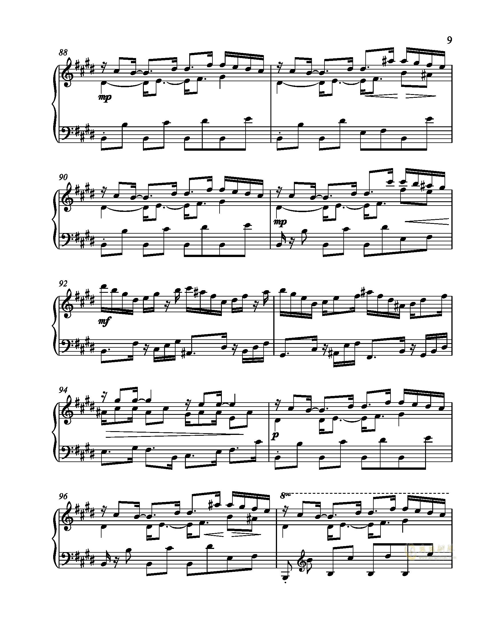 辛普森B大调练习曲钢琴谱 第9页