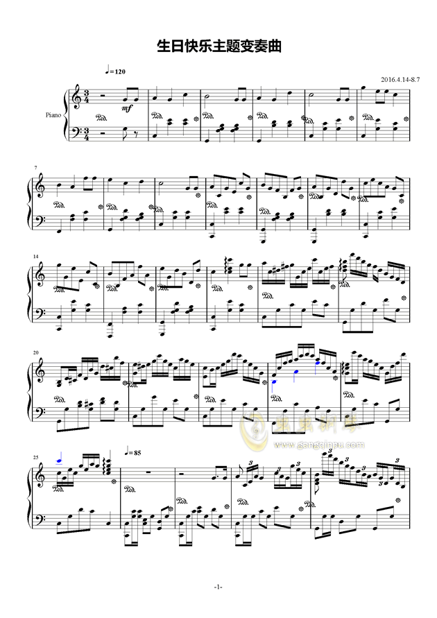 生日快乐变奏曲钢琴谱_红木鸡