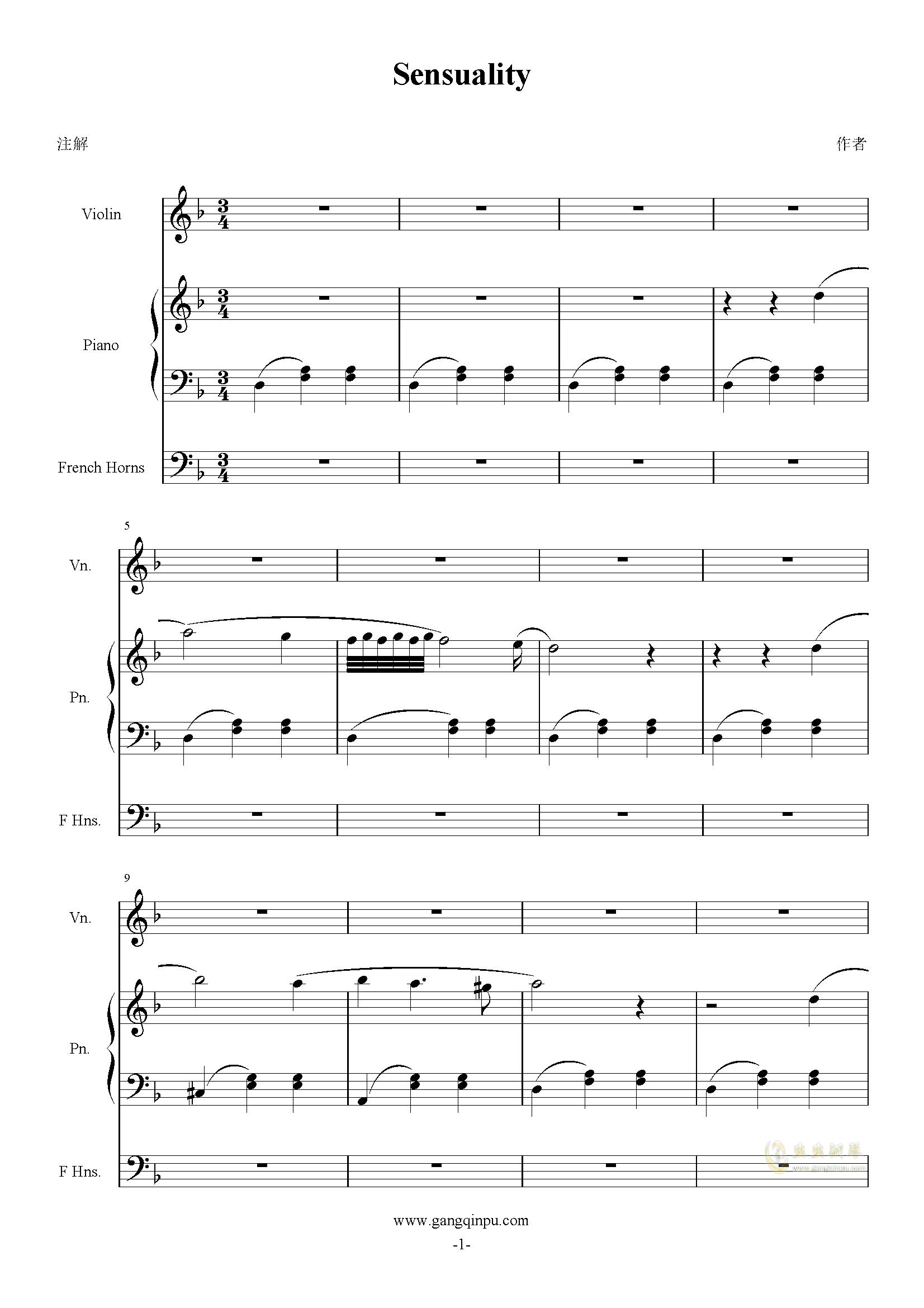 Sensuality钢琴谱 第1页