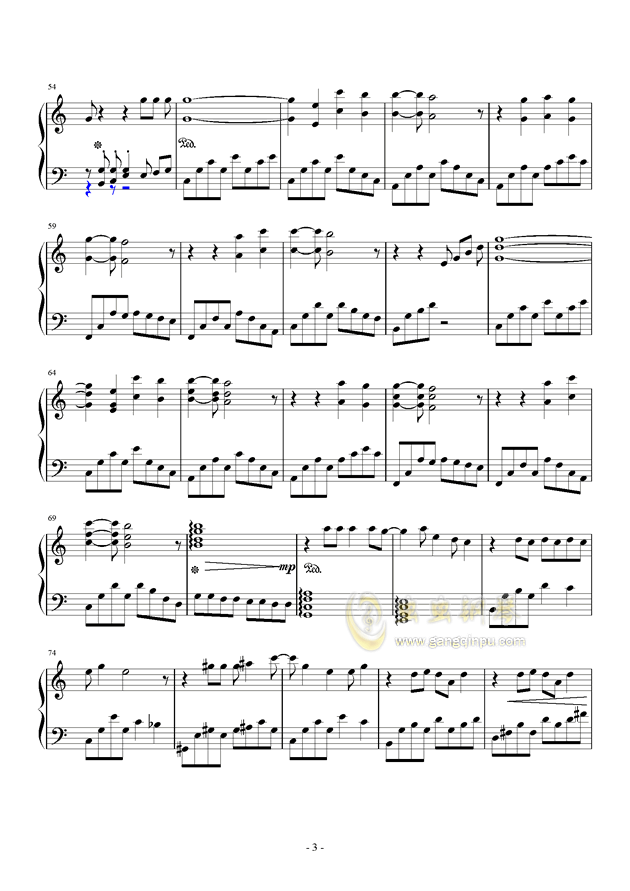 乃木坂46--シ�`クレットグラフィティ�`钢琴谱 第3页