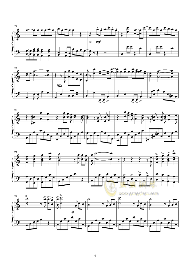 乃木坂46--シ�`クレットグラフィティ�`钢琴谱 第4页