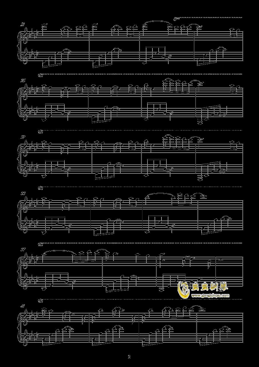遗憾的是美丽的钢琴谱 第2页