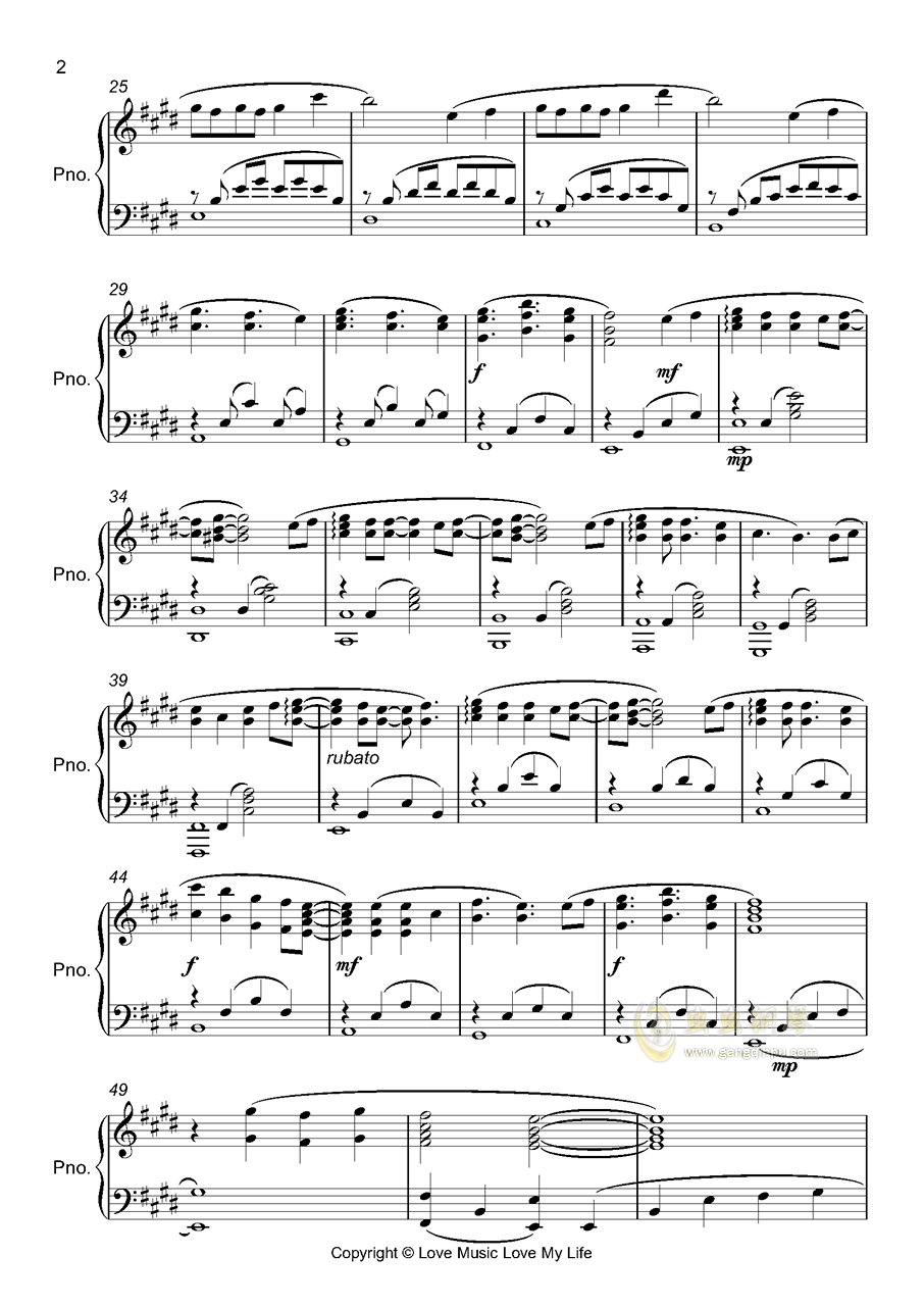 醉春烟钢琴谱 第2页