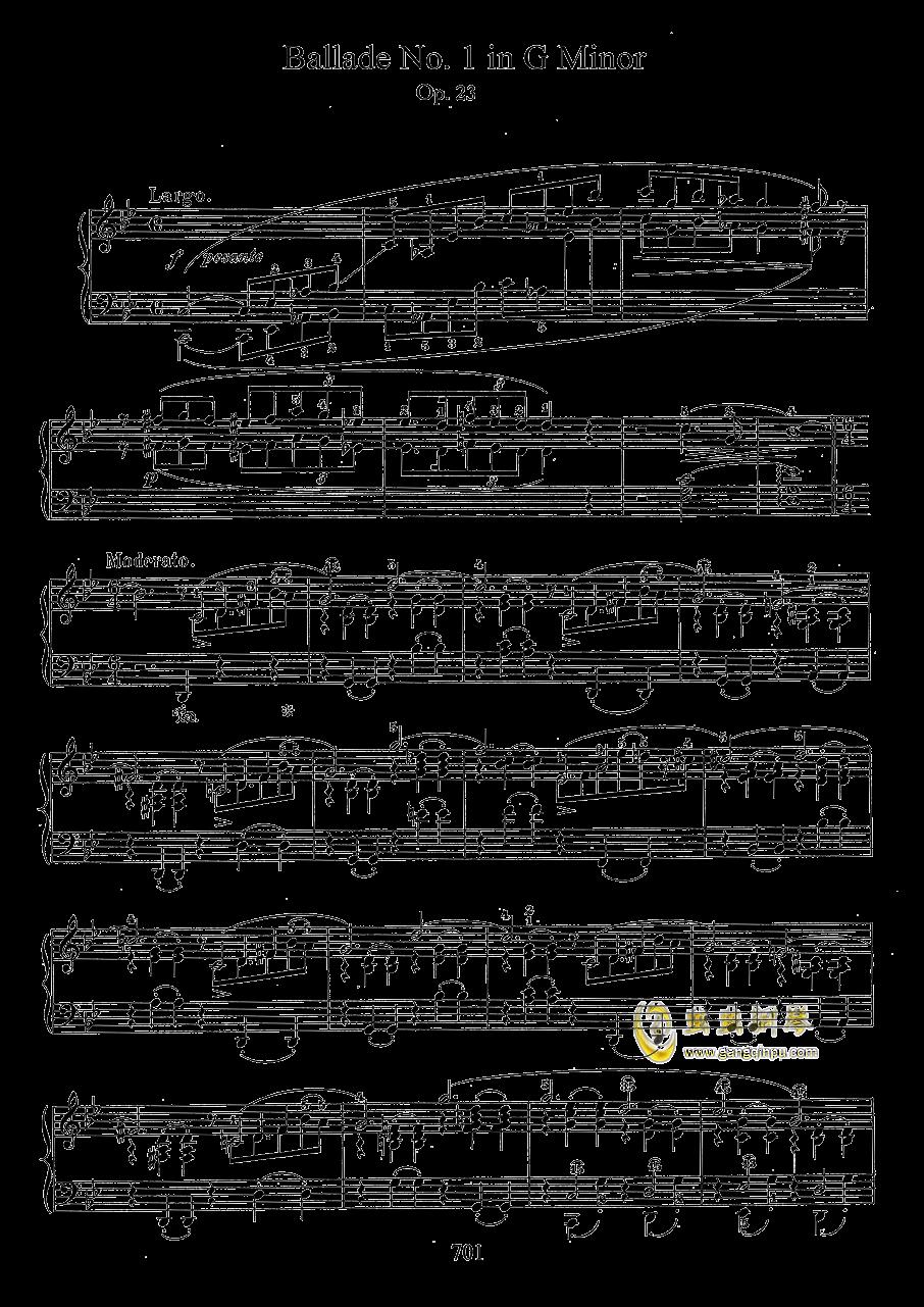 g小调叙事曲 带指法版钢琴谱 第1页