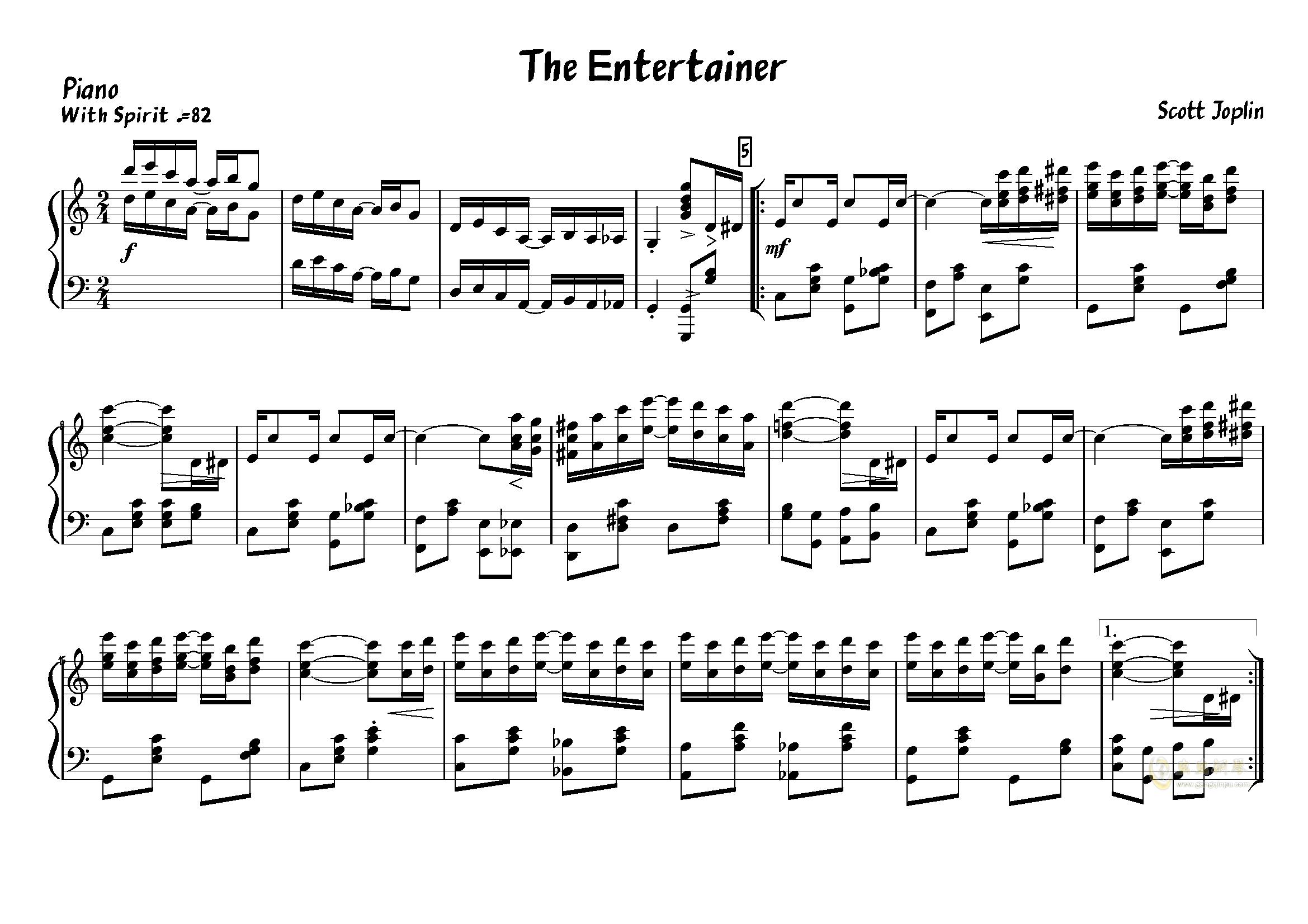The Entertainer钢琴谱 第1页