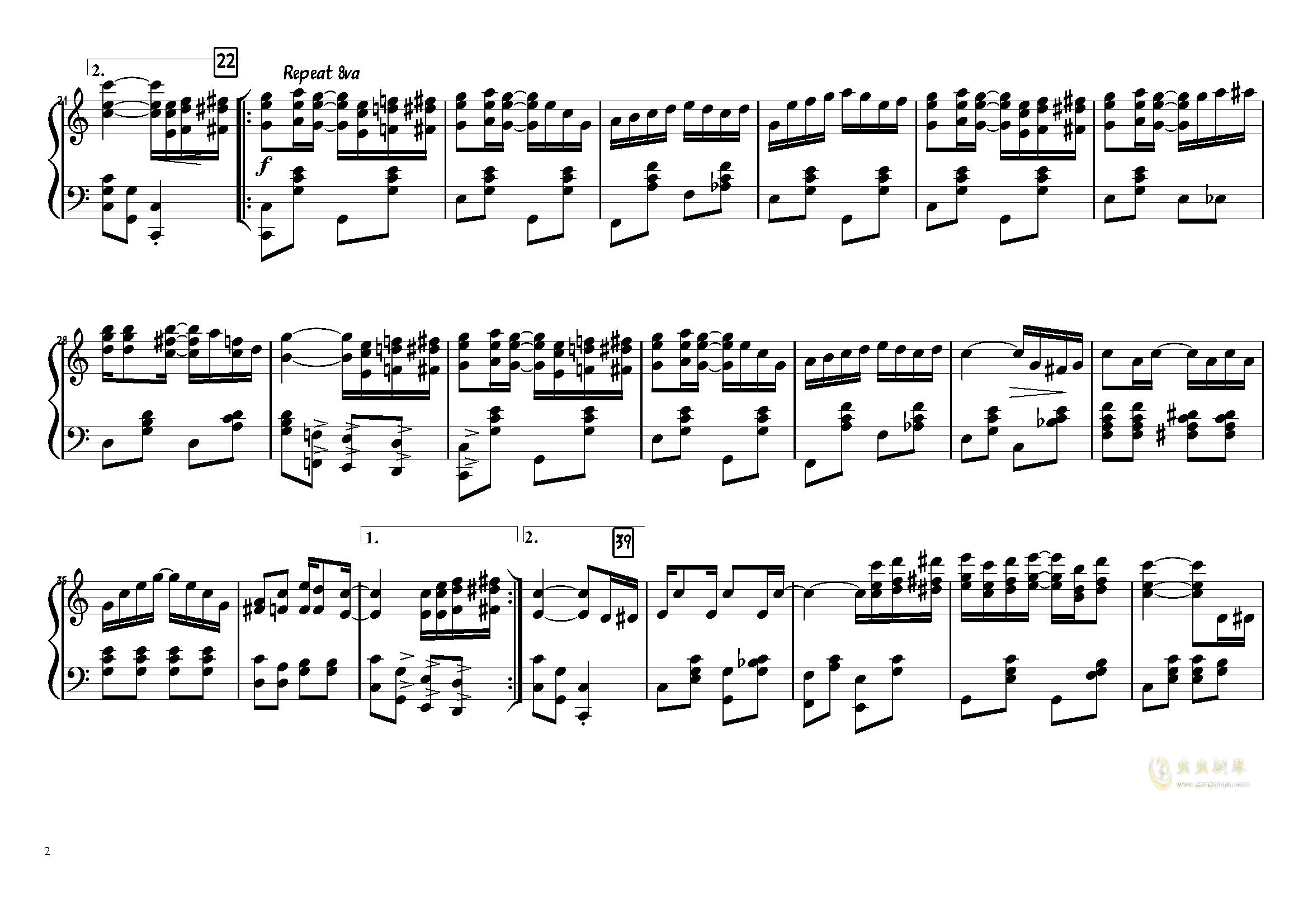 The Entertainer钢琴谱 第2页