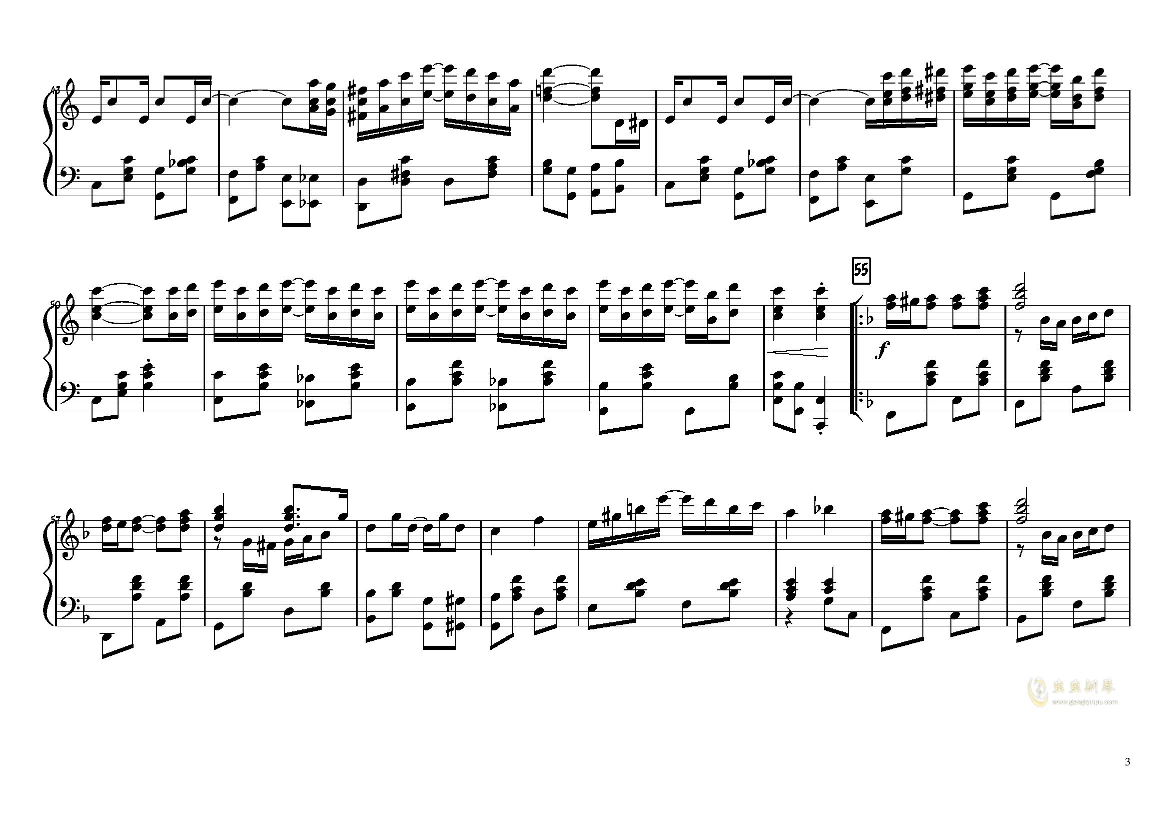 The Entertainer钢琴谱 第3页