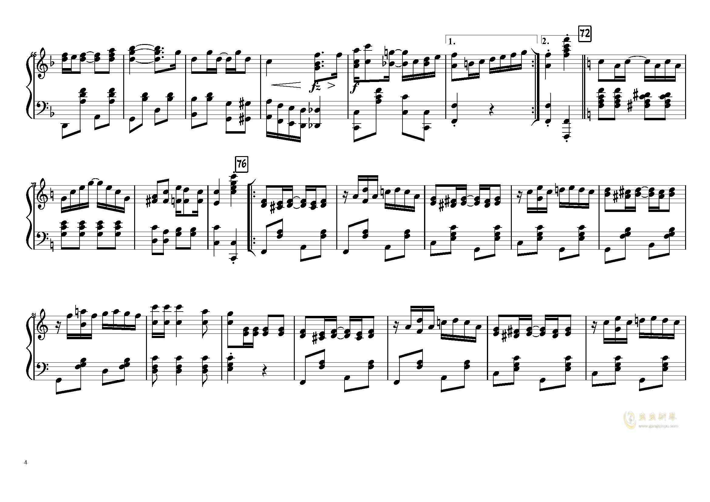 The Entertainer钢琴谱 第4页