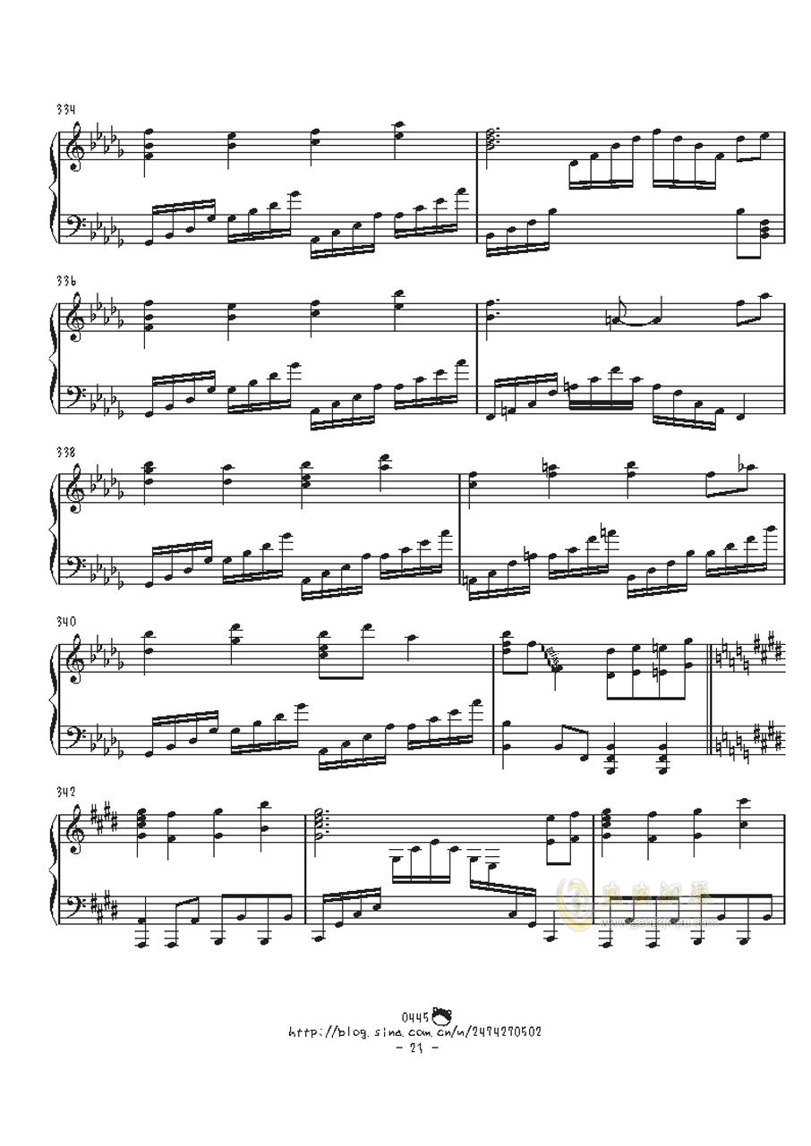 幻想游戏钢琴谱 第21页