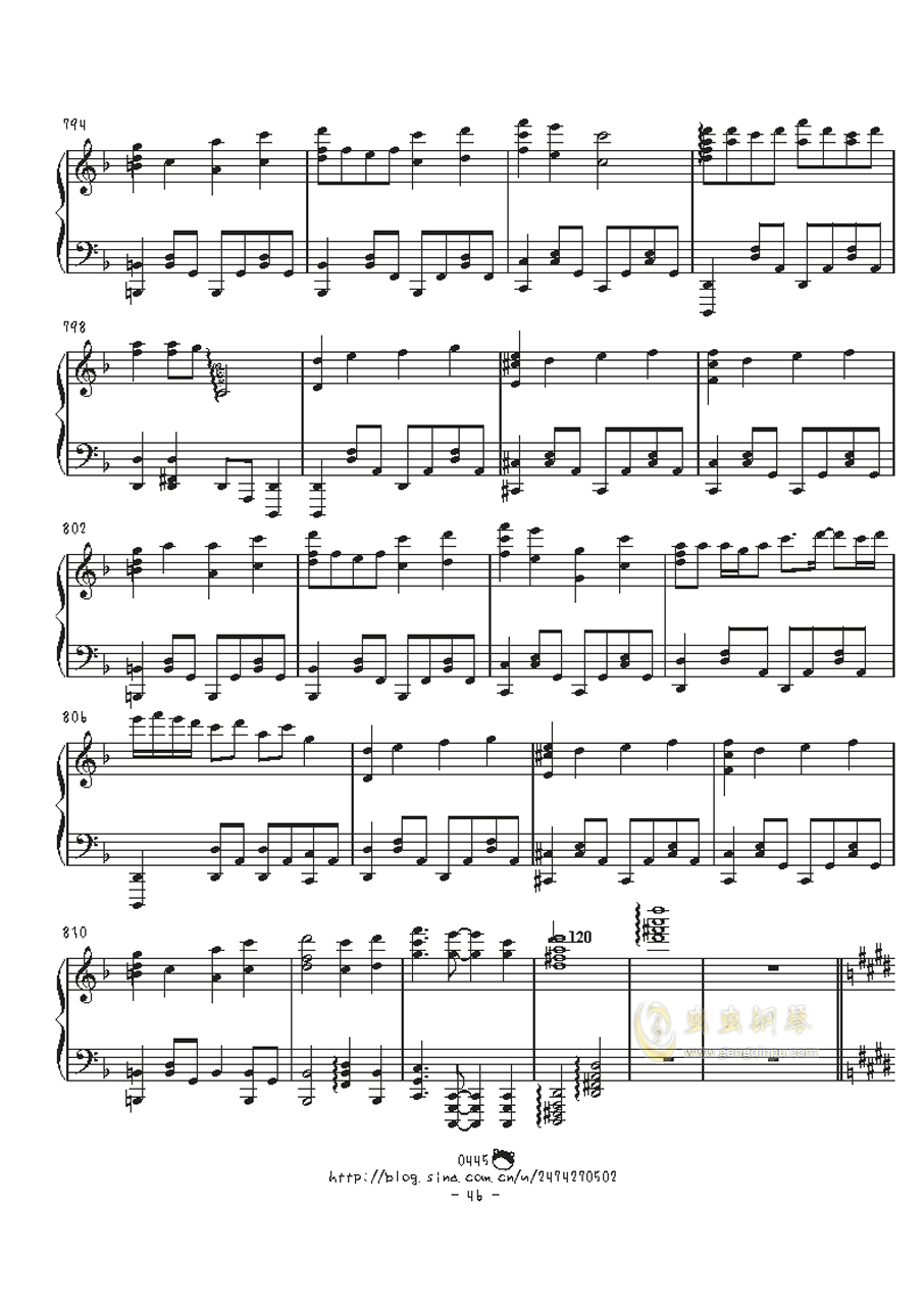 幻想游戏钢琴谱 第46页