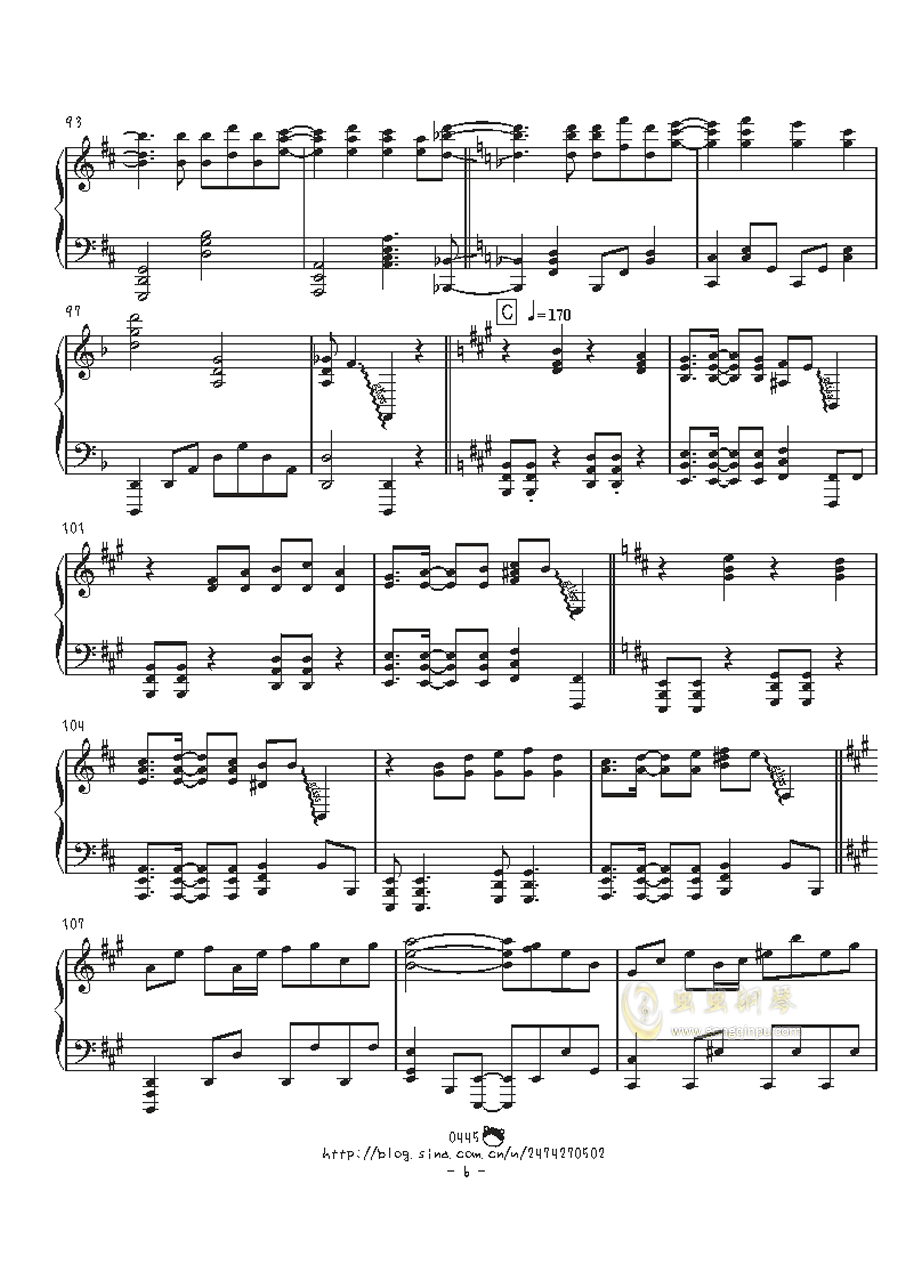 幻想游戏钢琴谱 第6页