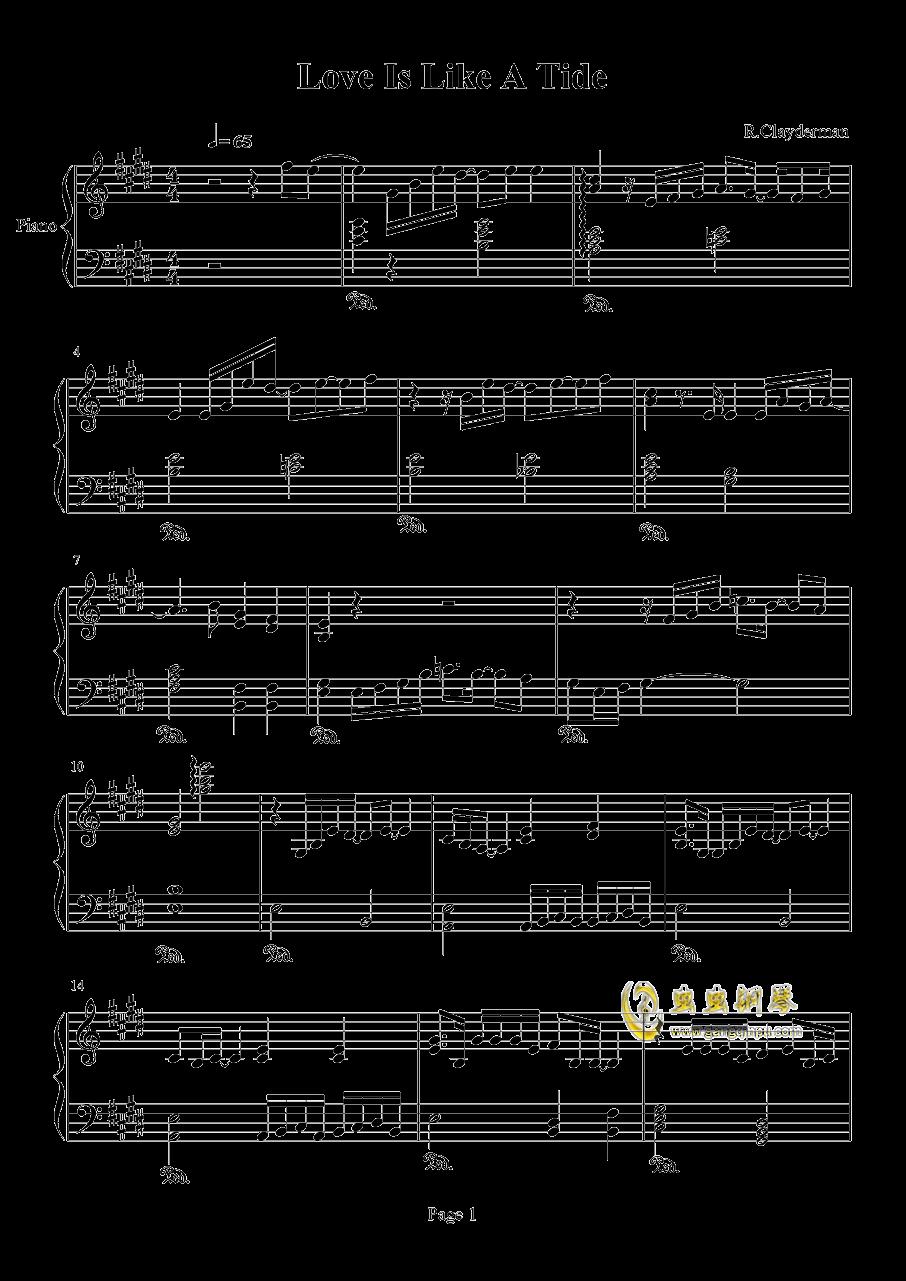 爱如潮水钢琴谱 第1页