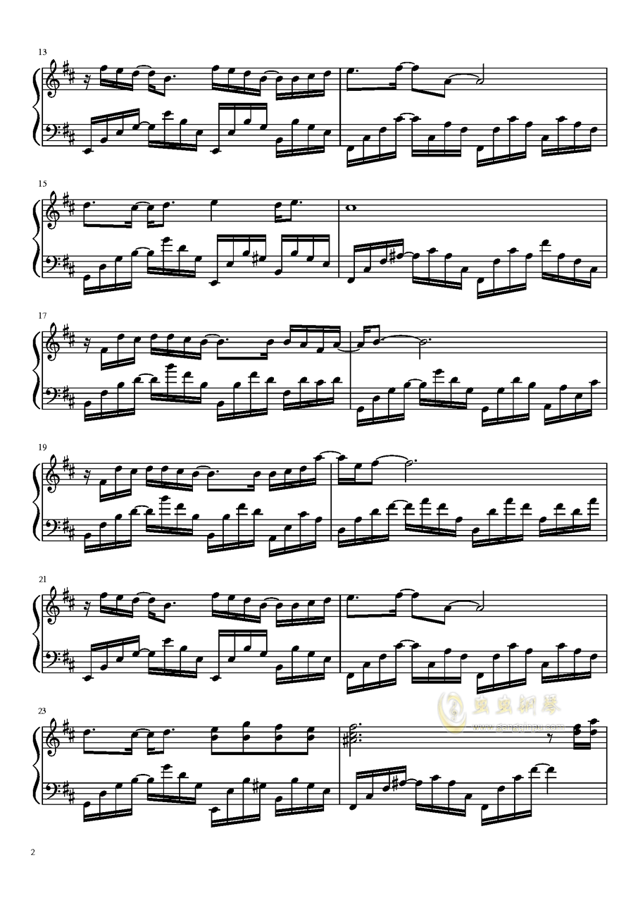 Rain Flower钢琴谱 第2页
