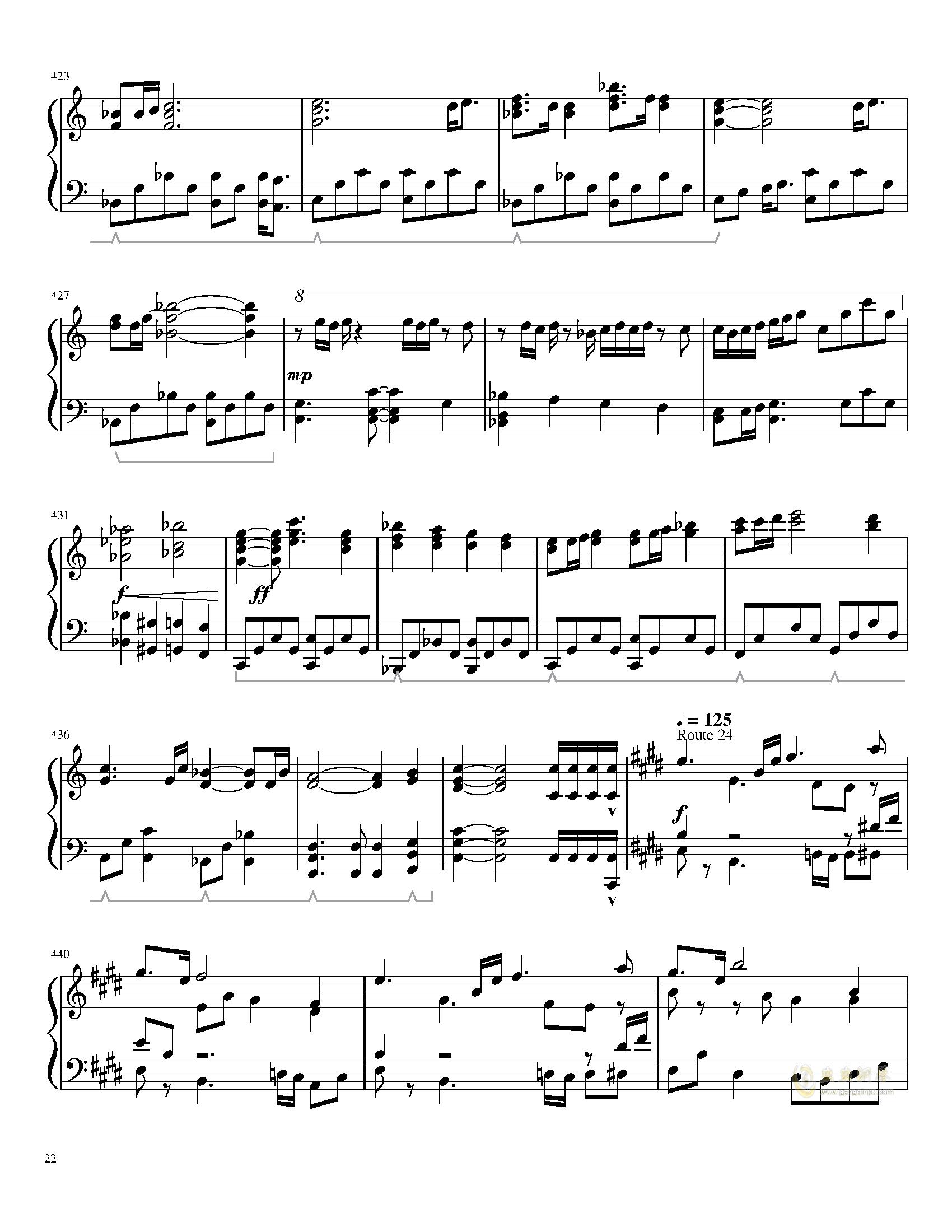 口袋妖怪初代全BGM串烧钢琴谱 第22页