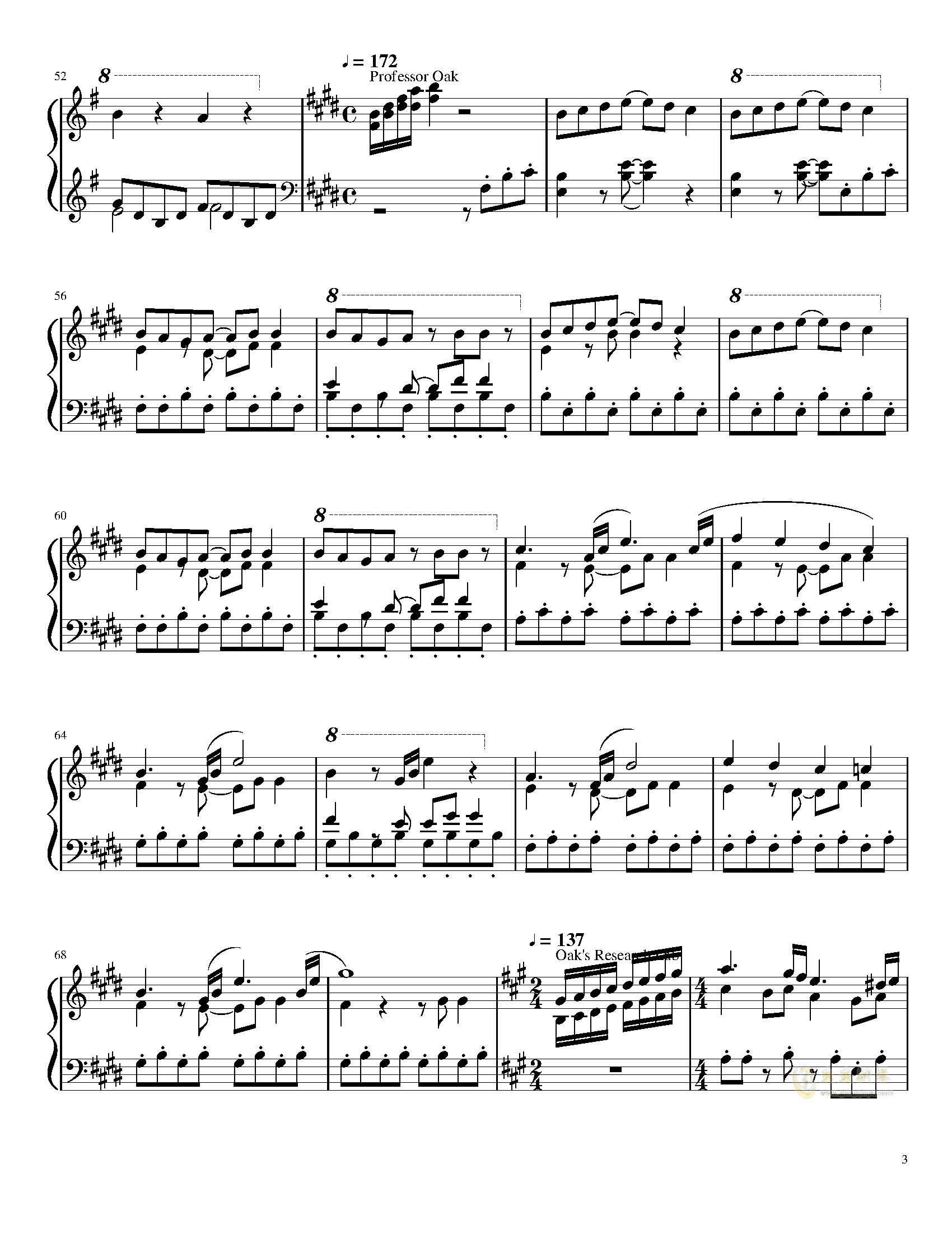 口袋妖怪初代全BGM串烧钢琴谱 第3页