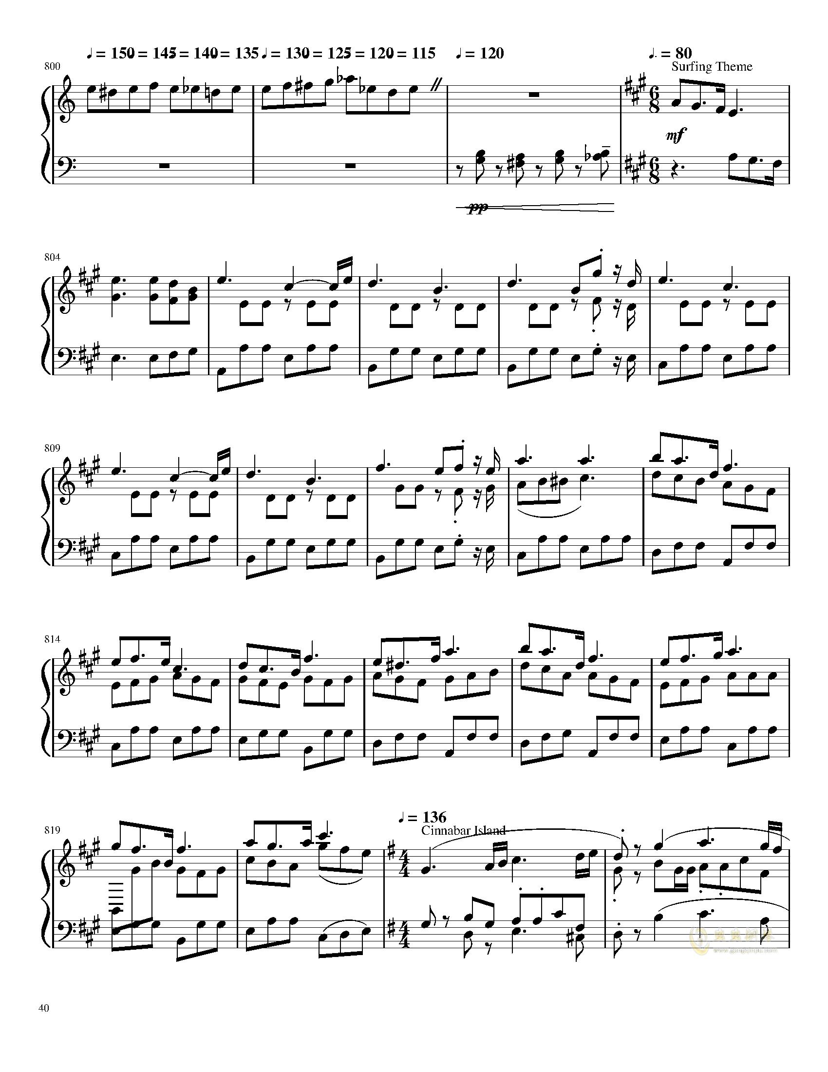 口袋妖怪初代全BGM串烧钢琴谱 第40页