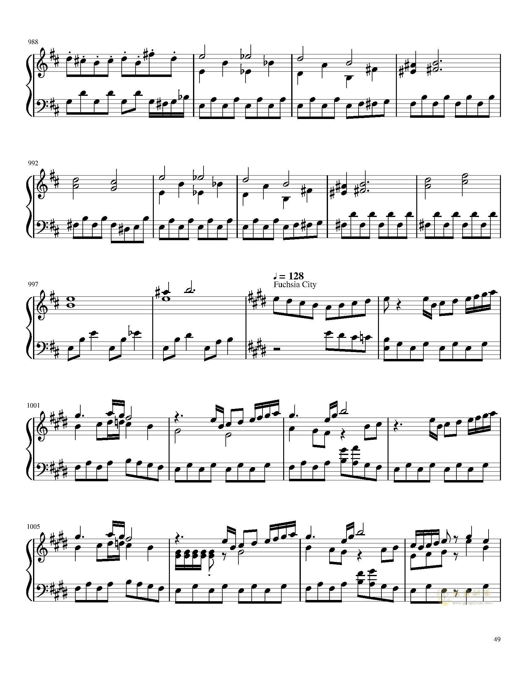 口袋妖怪初代全BGM串烧钢琴谱 第49页