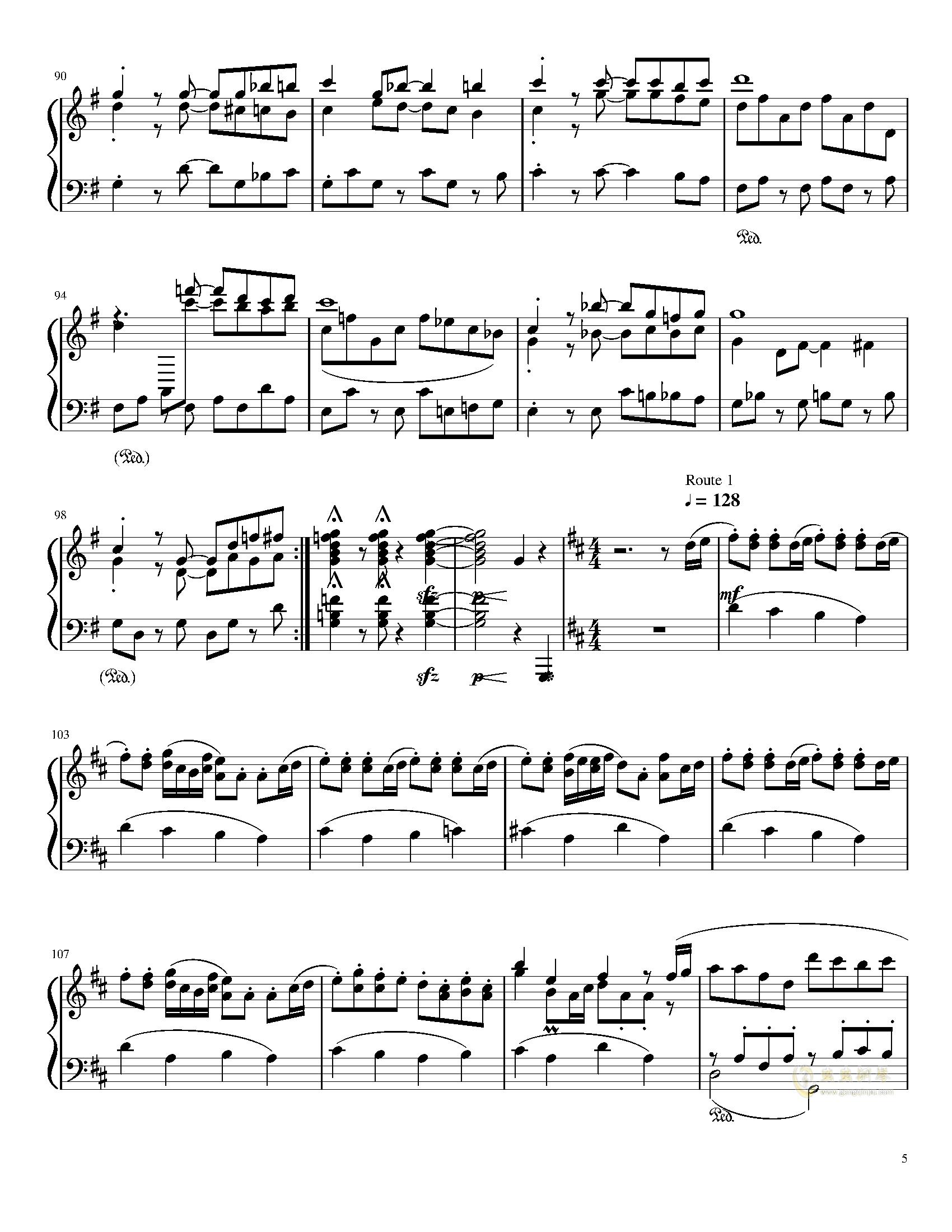 口袋妖怪初代全BGM串烧钢琴谱 第5页
